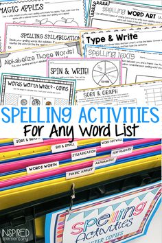 Spelling word activities set up in this spelling center make it easy for student access, and gets them engaged in practicing weekly spelling words. Vocabulary activities can also be done using this center as each activity works with any list of words! Grab some free spelling activities and see how this spelling center changed our elementary classroom. Spelling Word Activities, Spelling Centers, Spelling Practice, Vocabulary Practice, Word Work Activities, First Grade Activities, Vocabulary Activities, Spelling Words, Spelling Ideas