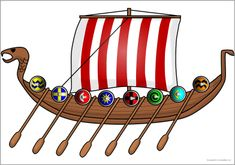 Giant Viking long boat picture for display (SB9418) - SparkleBox