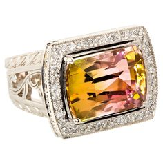 Parti-Color Tourmaline and Diamond Ring: 13.53 carat tourmaline and set with 0,26 carats of diamonds in white gold.