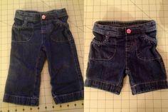 Turn toddler pants into shorts, keeping original hem.