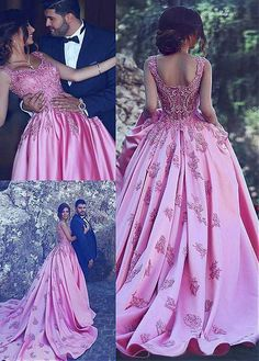 Glamorous Satin Scoop Neckline Ball Gown Formal Dresses With Lace Appliques , Long Prom Dress Pink Prom Dresses, Satin Dresses, Dance Dresses, Homecoming Dresses, Lace Dress, Formal Dresses, Dress Prom, Elegant Dresses, Wedding Dresses