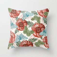 Poppies and Butterflies Pattern Throw Pillow by Paula Belle Flores - $20.00
