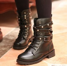 2014 Autumn Women's Korean Fashion Short Boots Flat Heel Boot Martin Boots EQ357 #Unbranded #MartinBoot