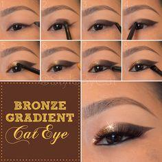 Style By Cat: Metallic Bronze Gradient Cat Eye Tutorial