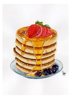 Check out this item in my Etsy shop https://www.etsy.com/listing/237125254/pan-cake-original-watercolor-painting-a5