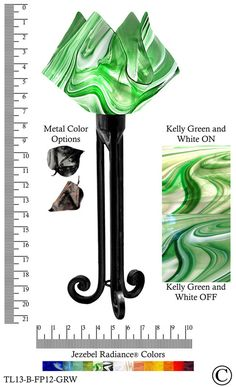 Jezebel Radiance® Torch Light. Hardware: Black. Glass: Kelly Green and White, Flame Style