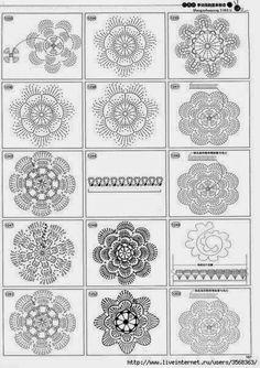 Irish crochet &: Цветы со схемами
