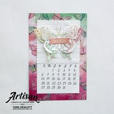 Calendar Pages, Desktop Calendars, Small Alphabets, Alphabet Stamps, Largest Butterfly, Stamp Pad, Basic Grey, Stampin Up, Card Stock
