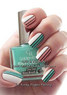 Mint and Peach Retro Striped nails by funkyfingersart - Nail Art Gallery nailartgallery.nailsmag.com by Nails Magazine www.nailsmag.com #nailart