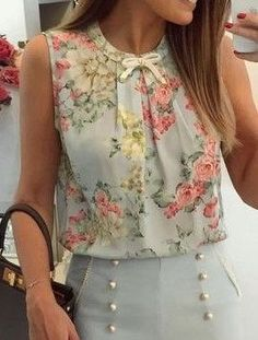 50 Spring Outfits To Look Cool - Daily Fashion Outfits Spring Fashion Outfits, Modest Fashion, Fashion Dresses, Summer Outfits, Cute Blouses, Blouses For Women, Super Moda, Mode Statements, Sewing Blouses
