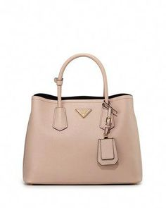 Saffiano Cuir Small Double Bag, Blush (Cammeo) by Prada at Neiman Marcus. c1dc563a6a