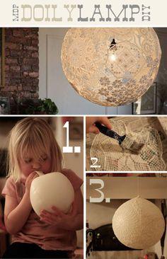 DIY doily lamp. Cute! #diy #decor #lamp
