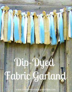 Dip Dyed fabric garland using Tie Dye Kits!