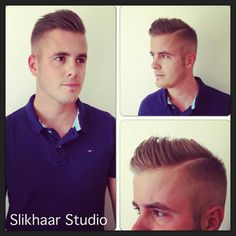 This is a classic taper. The hair is cut aggressively close around the ...