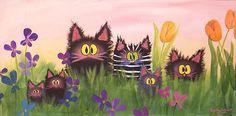 Kunst: Fuzzy Cats & Bloemen per kunstenaar Cynthia Schmidt,.................lbxxx.