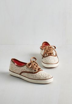 Go Off the Trails Sneaker. Sunny weather, sprawling meadows, and these crocheted sneakers from Keds have you feeling giddy as can be! #tan #bride #modcloth