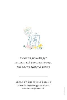 Carte de remerciement mariage Instant fleuri