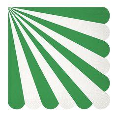Green Stripe Scalloped Large Napkins