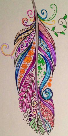 Doodle Art Drawing, Zentangle Drawings, Mandala Drawing, Pencil Art Drawings, Mandala Tattoo, Art Sketches, Feather Drawing, Feather Painting, Feather Art
