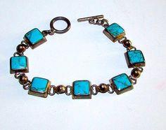 Native American Navajo Sterling Silver Turquoise Link Bracelet