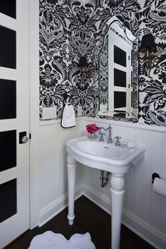 Martha O'Hara Interiors: French black and white powder room with black textured ceiling and crisp white moldings ...