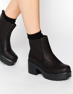 Image 1 of Daisy Street Black Chunky Chelsea Boots