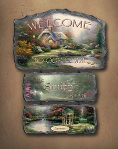 You can greet friends and family with this Thomas Kinkade personalized welcome sign collection from The Bradford Exchange.  #thomaskinakde #homedecor #bradfordexchange
