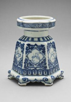 """Porcelain Candleholder, ca 16th century-Ming Dynasty, China. Artist Unknown. Philadelphia Museum of Art - Collections Object  Citation: """"Philadelphia Museum of Art- Collection Object."""" Digital image. Philadelphia Museum of Art. Accessed March 03, 2014. http://www.philamuseum.org/collections/permanent/211488.html?mulR=476114501