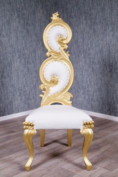 Barock Thronstuhl Prunk in gold Barock Thronsessel Prunk in Gold High Back Dining Chairs, Gold Art, Design, Furniture, Vintage, Home Decor, Easel, Artificial Leather, Timber Wood