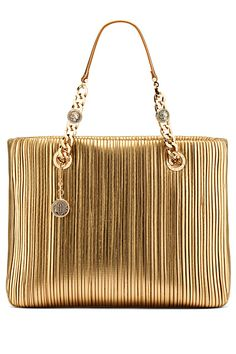 Bvlgari Gold Strand Handbag | You can see the rest of the outfit and description on this board.  -  Gabrielle