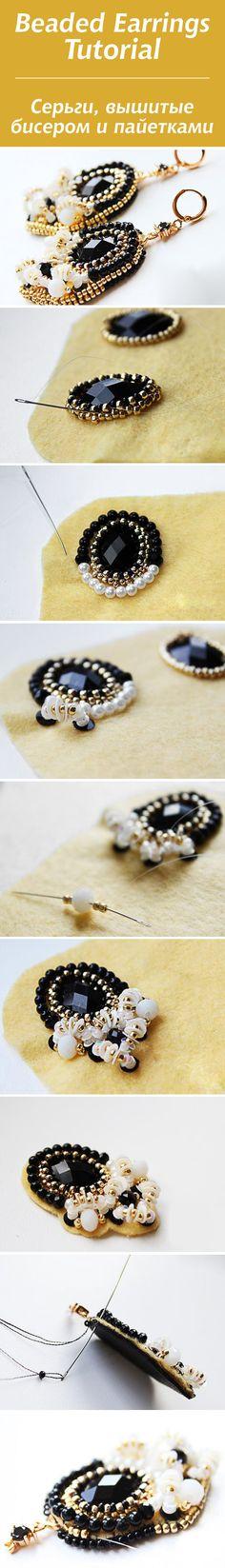 Bead embroidery: Earrings tutorial / (Вышитые бисером и пайетками серьги)