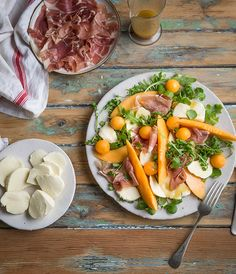 This Melon, mozzarella & parma ham salad with a honey & mustard vinaigrette forms part of an Italian feast menu I created for Galbani. It's a fresh and light salad with their creamy Mozzare… Ham Salad Recipes, Pate Recipes, Scone Recipes, Dip Recipes, Copycat Recipes, Beef Recipes, Yummy Recipes, Honey Mustard Vinaigrette, Parma Ham