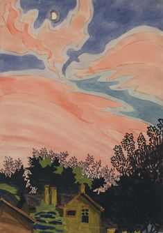 Charles Burchfield aka Charles Ephraim Burchfield aka Charles E. Burchfield (American, 1893-1967, b. Ashtabula Harbor, OH, USA) - Afterglow, July 8, 1916, Paintings: Watercolor, Graphite on Paper