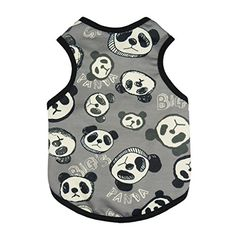 Fitwarm Cute Panda Dog Shirts Pet Clothes Dog Tank Top Summer Vest, Black, XS >>> Click image to read more details. #DogShirts