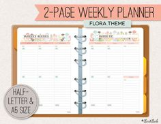 A5/Half-letter 2-page WEEKLY PLANNER (Printable - Flora Theme)