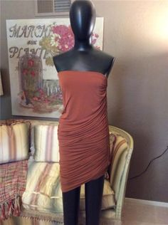 Donna-Karan-Collection-Brown-Body-Con-Draped-Viscose-Spandex-Dress-Medium