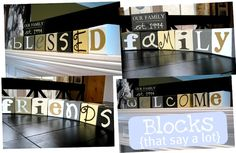 Wood Blocks that spell a ton of words!! So cute and easy! From Ginger @ Ginger Snap Crafts