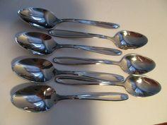 Spoons Utica Stainless USA Cutlery UTI 31 Vintage pattern Mid Century Lot of 7  #UticaCutlery