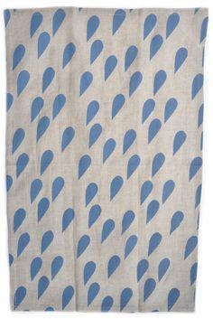 machine washable blue and linen tea towel