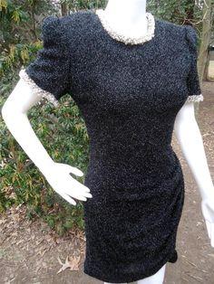 Victoria Royal Ltd. Vtg. Bead Embellish Women's Black Cocktail Wiggle Dress SZ 8 #VictoriaRoyalLtd