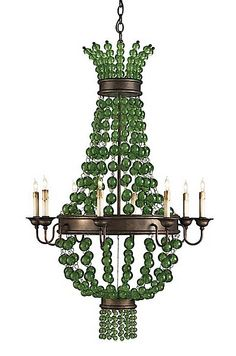 Love this chandelier, sure it's a little gypsy - but we all need some whimsy now and then. So, if you are feeling adventuress, try the Serena Chandelier by Currey and Company. Green Chandeliers, Beaded Chandelier, Chandelier Lighting, Vintage Chandelier, Rustic Lighting, Lighting Ideas, Green And Brown, Pink And Green, Kelly Green