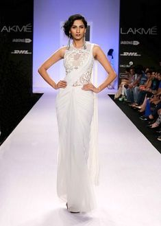 Buy White Color Pre-Stitched Saree by Akanksha Singh at Fresh Look Fashion Lakme Fashion Week, India Fashion, Asian Fashion, Look Fashion, Designer Sarees Collection, Saree Collection, Indian Dresses, Indian Outfits, Indian Clothes