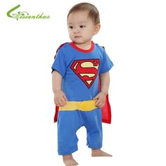Baby Boy Romper Superman Batman Short Sleeve with Smock Infant Cartoon Halloween Christmas Costume Toddler Cotton Summer Clothes