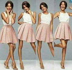 Tini Violetta Outfits, Celebrity Singers, Look Girl, Standing Poses, Beautiful Celebrities, Skirt Fashion, Spring Summer Fashion, Cute Outfits, Style Inspiration