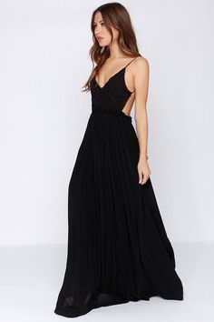 LULUS Exclusive Blooming Prairie Crocheted Black Maxi Dress at Lulus.com!