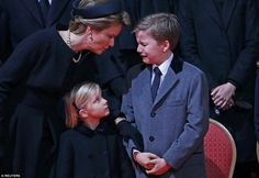 Belgium's royals join European monarchs as they bid farewell to Queen Fabiola | Daily Mail Online - Here Queen Mathilde comforts her son Prince Gabriel who broke out in tears at his dear great-aunt's funeral.