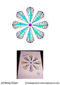 Iris Folding Stained Glass Flower Pattern on Craftsuprint designed by Kirsty Green - this pattern could be used for any occasion. I have attached my card example. - Now available for download!
