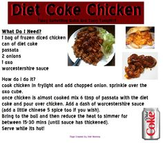 slimming world diet coke chicken Slimming World Treats, Slimming World Dinners, Slimming World Recipes Syn Free, Slimming World Diet, Slimming Word, Coke Chicken, How To Cook Chicken, Chicken Cake, Healthy Cooking