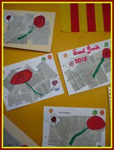 Avui hem fet el nostre petit treball de Sant Jordi. La idea la vam agafar de del blog Tic, llapis i paper . A nosaltres ens ha quedat així...
