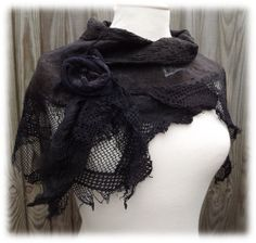 RESERVED for Eileen Black Rose Shawl Nuno felt shawl by folkowl